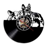 Francês Bulldog Vinil Registro de Vinil Relógio De Parede Moderno Design Animal Pet Shop Decor Pulso Filhote de Cachorro Relógio De Parede Relogio de Parede Bulldog Lover Presente 210310