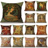 Vintage Arte Europeu Nouveau Mucha sofá travesseiro cobre casa decorativa fronha de linda garota padrão de almofada de almofada jk2103kd