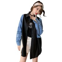Loose Womens Denim Jackets Spring Autumn Fall Lapel Neck Sin...