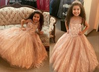 2022 Rose Gold Infant Little Girls Pageant Quinceanera Prom Dresses Sheer Neck BallGown Long Glitter Sequined Tulle Ruched Flower Girl First Communion Dress