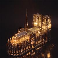 Demir Yıldız 3D Metal Bulmaca Notre-Dame De Paris Modeli Meclisi Modeli DIY 3D Lazer Kesim Modeli Bulmaca Oyuncaklar Yetişkin Y200413 için