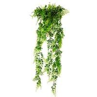 Decorative Flowers & Wreaths Simulation Plants Flower Garland Fake Grass Wall Hanging Rattan Plastic Ivy Decors Fern Leaf Home Wicker Leaves