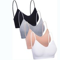 Bras 4 Pieces Bra Seamless Cotton Push Up Padded Underwear Camisole Breathable Sports Sleep Tank Top Intimate Female