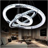 Современные хромированные хрустальные кристаллы с бриллиантовым кольцом светодиодные подвесные светильники из нержавеющей стали Регулируемое крытое освещение