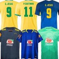 Brasils 20/21 Jersey de fútbol Paquete Neres COUTINHO Camisa de fútbol Joven Firmino Jesús Niños Marcelo 2021 Maillot Pie Brasil Uniformes Conjuntos