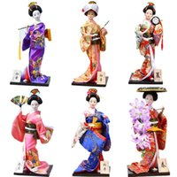 Myblue 12 Inch Kawaii Traditional Japanese Geisha Kimono Doll Sculpture Japanese House Figurine Home Decoration Accessories Q0525