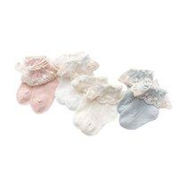 Laço bebê meias algodão meninas meias bonitos princesa criança meias primavera verão acessórios de bebê recém-nascido roupas 0-3Y B4076