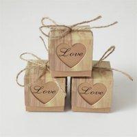 Bolsa de regalo de Kraft del corazón romántico de la caja del caramelo con la arpillera Chic Chic Favores de la boda suministros de caja de regalo 5x5x5cm 179 V2