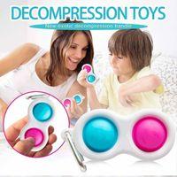 DHL Shipping Push Bubble Keychain Kids Adult Novel Fidget Simple Dimple Toy Pop It Fidget Toys Key Holder Rings Bag Charms Pendants H2106
