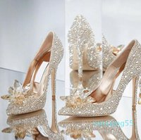Top Grade Cinderella Crystal Shoes luxury Bridal Rhinestone Wedding Shoes With Flower Genuine Leather Party prom shoes plus size With box