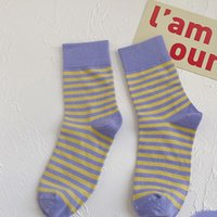 Men's Socks 1 Pair And Women's Autumn Winter Color Striped In Tube All-match Long Cotton
