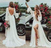 Sexy V-Neck beach Bohemian Wedding Dresses Long Flare Sleeve High Split Backless Chiffon Boho Country Bridal Wedding Dress