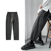 Yeni erkek Çizgili Kot Kore Tarzı 2021 Hip Hop Streetwear Casual Adam Gevşek Japon Gri Pantolon Uzun V9FQ