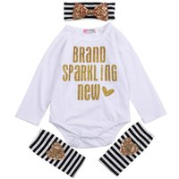 Clothing Sets Baby Girls 3PCS Outfit Set, Long Sleeve Letter Pattern Envelope Neckline Romper, Striped Heart , Bow Hair Band Set