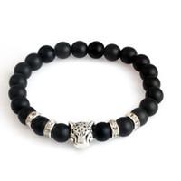 Bijoux à la main en gros 8mm noire tête léopard tête lion tête homme et femmes bracelet élastique