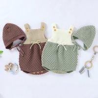 Set de mamelería de punto para bebés niña niña verano otoño simple color a juego sin mangas suspender el mono + kit de sombrero de color sólido 210303