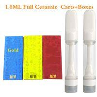 1.0ml Delta 8 Full Ceramic Vape Cartridge Lead Free 510 Thread Atomizer Disposable Vapes E-Cigarettes Vaping Carts Packaging magnetic box Snap Lock Tops C-Gold
