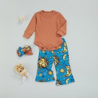 Clothing Sets 2pcs Baby Clothes Solid Color O-Neck Long Sleeve Romper+ Sun Moon Print Trousers+ Headband For Boys Girls, 3-24 Months