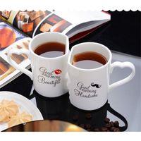 OUSSIRRO 2 قطعة / المجموعة زوجين كأس السيراميك القهوة قبلة القدح الإبداعية هدية عيد الحب هدية عيد ميلاد T191216