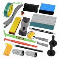 Foshio Car Stickers Accessori Kit Kit Window Tint Tint Fibra di carbonio in fibra di vinile Styling Styling Scraper Squeegee Taglio a nastro involucro