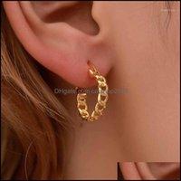 Hoop Earrings Jewelryhoop & Hie Punk Style Geometric Gold Earring For Women Vintage Charm Curb Chain Ear Loop Hollow Link Jewelry1 Drop Deli