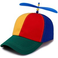Caps & Hats Colorful Bamboo Dragonfly Child Adult Adjustable Propeller Ball Baseball Cap Top Multi-Color Patchwork Funny Lovely