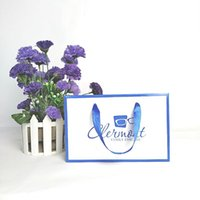 Gift Wrap Mini Paper Bag With Custom Logo Small Size Cardboard Pouch Blue Border For Festival Sovnenir Cosmetics Jewelry Store