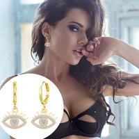 1Pair Gold Evil Eyes Pendant Hoop Dangle Earrings For Women Micro-inlaid Cubic Zirconia Ear Stud Fashion Jewelry Gift 2021
