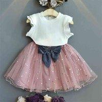 Girls 'Lace Terno Crianças desgaste branco top amarelo saia curto 2 pcs conjunto moda crianças roupas boutique roupas 210804