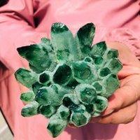 Grandi cluster di cristallo verde naturale Phantom quarzo cluster di pietra per decorazione del regalo