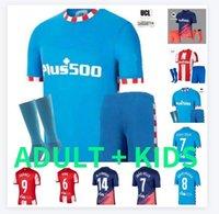 Joao Felix Suarez Atletico Madrid Soccer Jerseys 2021 2022 Saul Camisetas 20 21 22 Llorente Correa Football Hemd Männer Kids Kit Set Uniform Socken Hosen Shorts