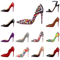 High Heel women Dress shoes Styles Red Bottoms luxury womens Stiletto Heels Genuine Leather Point Toe Pumps shoe 35-44 lacework Party Wedding Office & Career printing