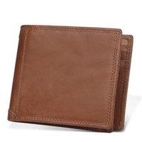 Wallets VEJIERY RFID Genuine Leather Men Wallet Short Card Purse Small Vintage Male Clutch Mens Coin Bag