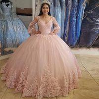 Пользовательские длинные рукава шаровые платья кружева Prom Tquinceanera платья 2021 с аппликациями на шнуровке Sweet 16 платья формальные вечерние платья