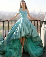 High Low A Line Prom Dresses One Shoulder Neck Pleated Evening Gowns Sweep Train Satin Formal Dress Robes De Custom Made