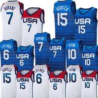 الولايات المتحدة كرة السلة جيرسي أولمبياد الصيف 7 أزرق كيفن دورانت 15 ديفين بوكر 6 داميان ليلارد 10 جيسون تاتوم 5 زاك لافين خريس ميدلتون الولايات المتحدة الأمريكية 2021 المنتخب الوطني