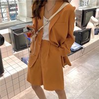 Women's Jackets Fashion Suit Women 2021 Spring And Autumn Casual All-match Loose Jacket Wide Leg Shorts Two-piece