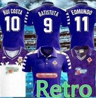 92/93 rétro Fiorentina Florence 98 99 Rui Costa Batistuta Retro manches longues Jersey Jersey Shirt de football Camiseta Futbol Maillot de pied