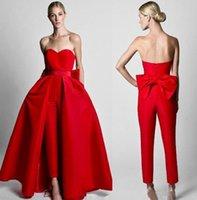 2021 Sexy Back Krikor Jumpsuits Jumpsuits Vestidos de noche con falda desmontable Sweetheart Rojo Batas de baile Nuevos pantalones de diseño para mujeres