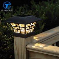 Transccego Luz solar para jardín Impermeable LED Lámpara solar Lámpara solar Paisaje al aire libre Luces de patio Cerca del hogar Poste Posquear Lámparas H0917