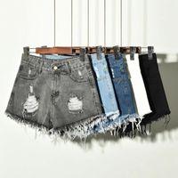 Jeans Mujeres Mujeres Agujeros Sexy Shorts Denim Pantalones cortos Pantalones CORTOS MUJER PLUS Tamaño S-6XL Alto Cintura