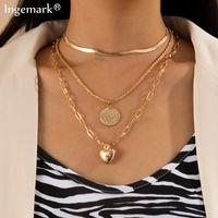 Moda multistrato amore cuore ciondolo girocollo collana punk ritratto moneta serpente catena collane per donne gioielli accessori per il collo