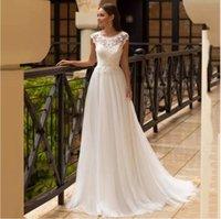 Bohemian Lace Wedding Dresses Cap Sleeve Tulle A Line Bridal Gowns Floor Length vestido de noiva 2021 Plus Size