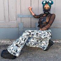 Pantalons Femmes Capris Bstcochi Imprimé Harajuku Flare Femmes Taille haute Taille Coupée Dames Streetwear Pantalon avec fermeture à glissière de cerceau