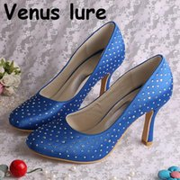 Dress Shoes Custom Wedding Satin Woman Blue Closed Toe Pumps With Crystals