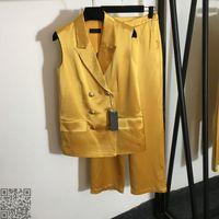 2021ss Summer Women Two Pieces Sets vest and pants fashion suit high waist straight pants brand di latest wide leg pants orWomens Designers Clothes