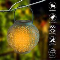 El mejor control de la luz solar LED de la luz de la luz de la inducción automática Lámpara de decoración del jardín al aire libre impermeable jardín retro hierro cálido blanco luz dropshipping
