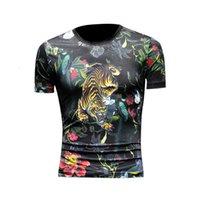 Renaissance Tiger Head T-shirt de gran tamaño Helado de hielo Seda de manga corta Graffiti Impresión digital Camiseta de estilo chino de los hombres
