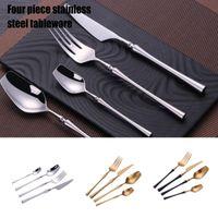Flatware Sets Royalin Set 4PCS Stainless Steel Modern Eating Utensils Includes Forks Spoons Cutter