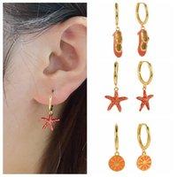 Hoop & Huggie KOJ Gold Enamel Dripping Oil Earrings Dangle Women 925 Sterling Silver Fruit Orange Starfish Pendant Aretes De Mujer